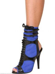 EMILIO PUCCI Blue Neoprene And Patent Leather Ankle Boots Shoes BNIB